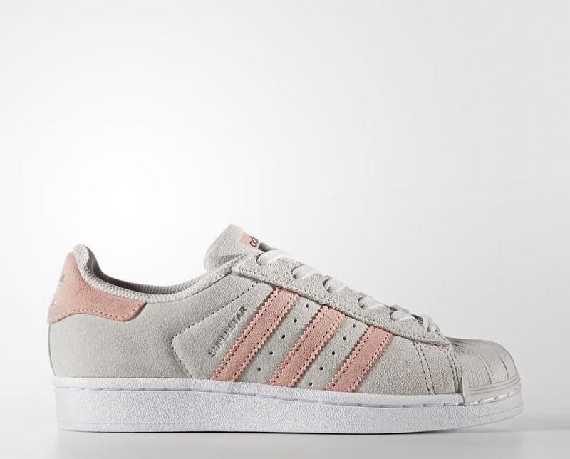 a3beb45454b83 Sneakers BZ0360 Zapatillas Adidas SuperStar Gris y Rosa Mujer